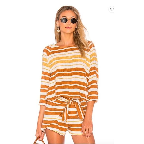Zephyr Barbara Top Tan White Striped Xs